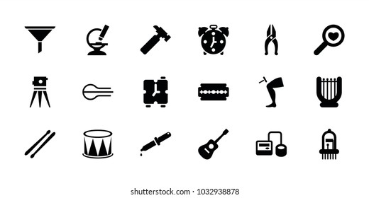 Instrument icons. set of 18 editable filled instrument icons: hummer, theodolite, harp, blod pressure tool, microscope, drum stick, musical instrument, alarm, razor, nippers