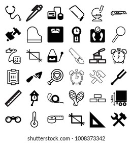 Instrument icons. set of 36 editable filled and outline instrument icons such as trowel, hacksaw, tape, hummer, ruler, wrench hummer, blod pressure tool, floor scales