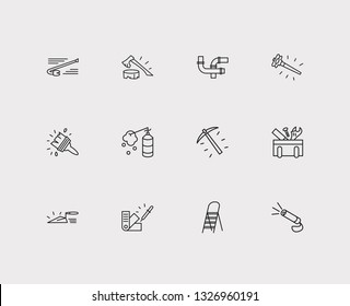 Instrument icons set. Crowbar and instrument icons with sledge hammer, construction foam and color swatch. Set of carpenter for web app logo UI design.