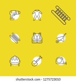 Instrument icons set with vest, drill and ppe elements. Set of instrument icons and pushcart concept. Editable vector elements for logo app UI design.