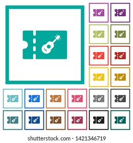 Instrument shop discount coupon flat color icons with quadrant frames on white background