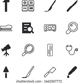 instrument vector icon set such as: listen, frame, holding, supply, monitor, puncher, high, space, join, experiment, diagnostic, signal, planetarium, warm, treatment, meteorology, electrical