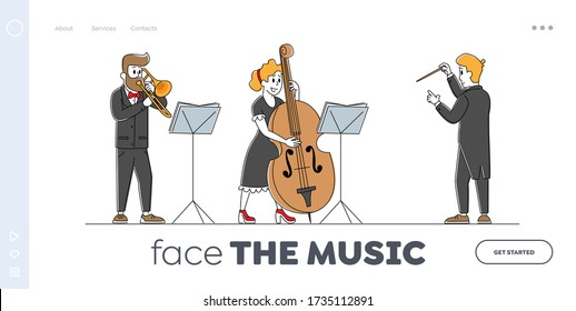 Instrumental Ensemble Landing Page Template. Symphony Orchestra Musicians with Instruments and Conductor Characters Perform on Stage with Cello and Trumpet. Linear Vector People Vector Illustration