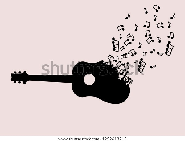 Instrumental Guitar Music Notes Vector Illustration Stock