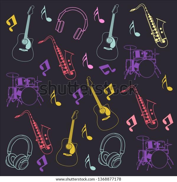 Instrumental Music Tool Pattern Vector Stock Vector (Royalty
