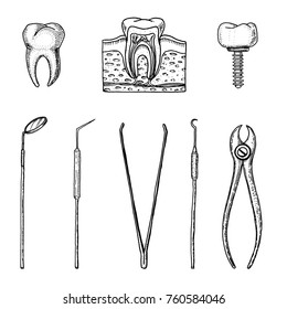 instruments equipment of the dentist for teeth enamel, set doctor. oral cavity clean or sick. health or caries human. engraved hand drawn in old or vintage sketch. medicine, care for cavity, implant.