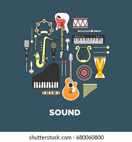 Instruments with great sound formed in circle illustration