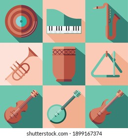 instruments icon collection design, Music sound melody and song theme Vector illustration