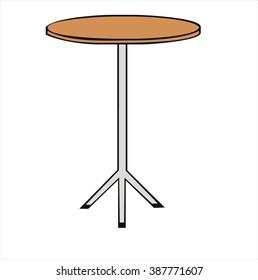 insulated round bar table, cartoon vector