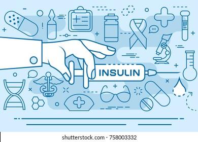 Insulin line concept. Vector illustration. Element template for design.