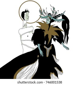 Insult. Salome and Iokanaan. Vector illustration. Mythology. Hand drawn original style art. Stage costume. Juxtaposition of male and female. Salome and John the Baptist.