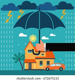 Insurance agent with umbrella under thunderstorm protecting house and car. Insurance, risk, crisis, financial problems, mortgages and banking service