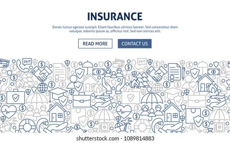 Insurance Banner Design. Vector Illustration of Line Web Concept.