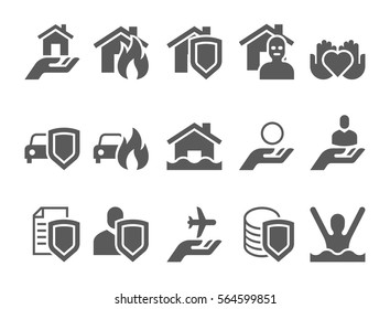 insurance black and white icons. various insurance vector icons set.