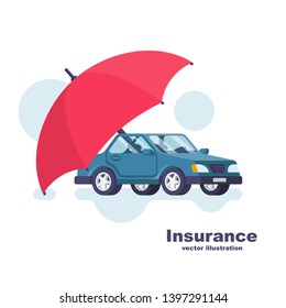 Insurance car. Cartoon style umbrella that protects the car. Safety auto concept. Vector illustration flat icon design. Isolated on white background. Vehicle protection.