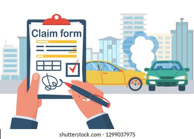 Insurance claim form. Accident concept. Man writes form on background crash car. Transport incident. Vector illustration flat design. Two vehicle collided on the road.