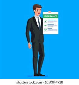 Insurance Claim Form. Man in suit, manager or agent shows a document, insurance. Vector illustration