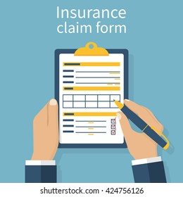 Insurance claim form. Man writes form, holding clipboard in hand. Vector illustration flat design.