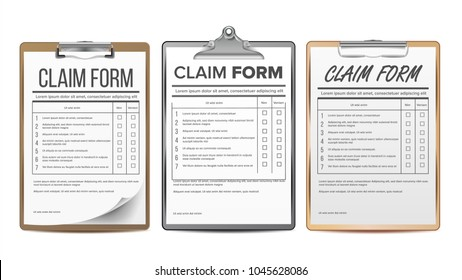 Insurance Claim Form Set Vector. 	 Insurance Business Agreement Icon. Legal Document. Realistic Illustration