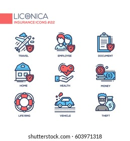 Insurance - coloured vector modern single line icons set. Plane, travelling, male, female employee, document, check mark, home, health, hand, money, life ring, vehicle, thief.