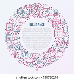 Insurance concept in circle with thin line icons: health, life, car, house, savings. Modern vector illustration for banner, template of web page, print media.
