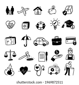 Insurance concept icons set, Hand draw Vector illustration doodle style