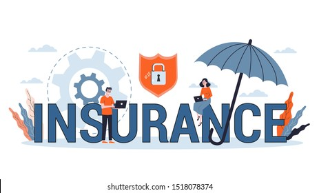 Insurance concept. Idea of security and protection of property and life from damage. Vector illustration in cartoon style