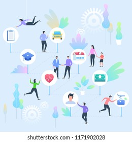 Insurance concept. People with Insurance Services icons of car, education, house, health, life and travel. Vector flat illustration