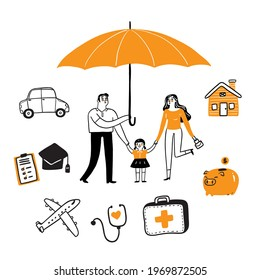 Insurance concept set, Hand draw Vector illustration doodle style
