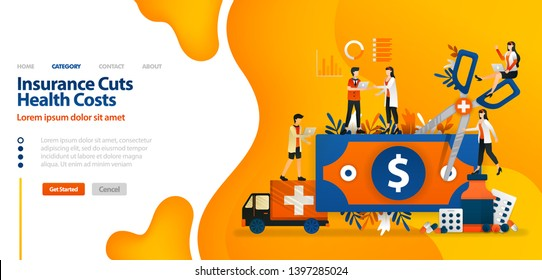 Insurance Cuts Health Costs. money cut with giant scissors .vector illustration concept can be use for landing page, template, ui ux, web, mobile app, poster, banner, website, marketing and ads