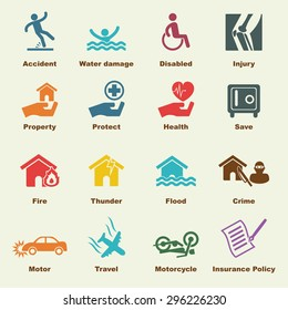 insurance elements, vector infographic icons