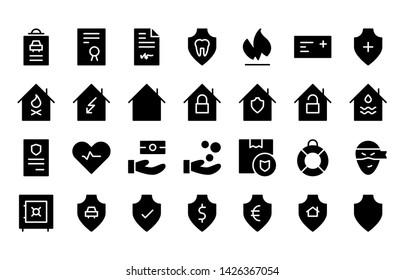 Insurance glyph icon symbol set