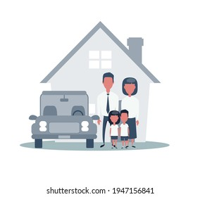 Insurance Home House Life Car Protection. Protect Concepts. Family infront of House with Car. Cartoon Vector Illustration