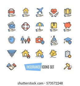 Insurance Icon Color Thin Line Set Support Services Element Design for Web and App. Vector illustration