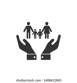 Insurance Icon. Illustration of Protection for Life or Families  As A Simple Vector Sign & Trendy Symbol in Glyph Style for Design and Websites, Presentation or Application.