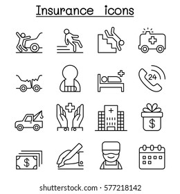 Insurance icon set in thin line style