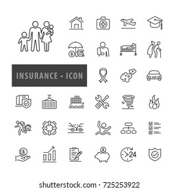 Insurance icon set Vector Illustration, icons modern design style
