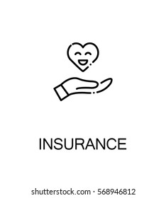 Insurance icon. Single high quality outline symbol for web design or mobile app. Thin line sign for design logo. Black outline pictogram on white background