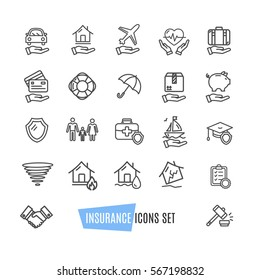 Insurance Icon Thin Line Set Support Services Design for Web and App. Vector illustration