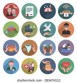 Insurance icons flat set with natural disasters health and property protection symbols isolated vector illustration