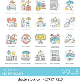 Insurance icons including kidnap and ransom, labor, landlord, legal expenses, liability, life, longevity, microinsurance, multiple-peril, mutual, niche, owner-controlled program, parametric, perpetual