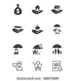 Insurance icons. Life, Real estate and House signs. Money bag, family and travel symbols. Customer service, Shopping cart and Report line signs. Online shopping and Statistics. Vector