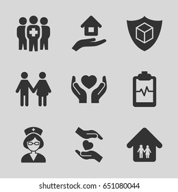 Insurance icons set. set of 9 insurance filled icons such as heartbeat clipboard, hands holding heart, medical group, nurse, family home