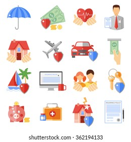 Insurance icons set with house transport and life safety symbols flat isolated vector illustration