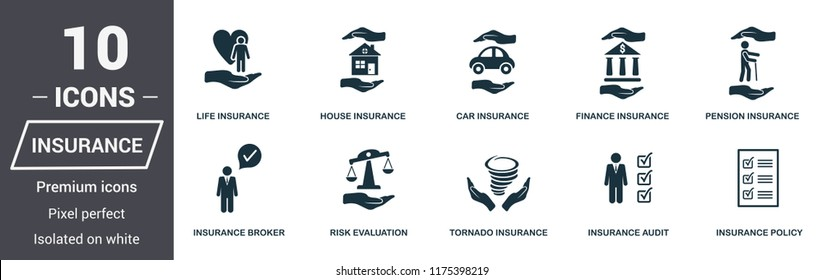 Insurance icons set. Premium quality symbol collection. Insurance icon set simple elements. Ready to use in web design, apps, software, print