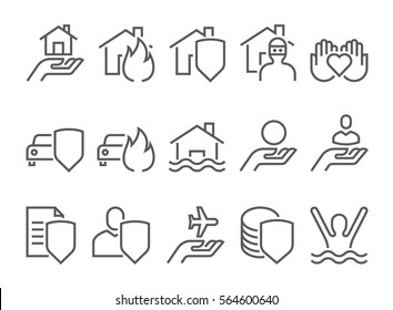 Insurance icons, thin line style