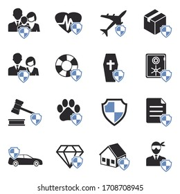 Insurance Icons. Two Tone Flat Design. Vector Illustration.