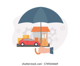 Insurance. Illustration of a hand holds an umbrella under which a house, a car, stacks of coins, a money bag, on the background of gears and dollar signs