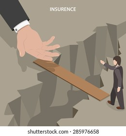 Insurance isometric vector concept. Helping hand is lending to a man to help him to pass to other side of an abyss.