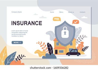 Insurance landing page template. House and transport are well protected, concept background. Home security protection web banner. Shield with lock. Trendy vector illustration